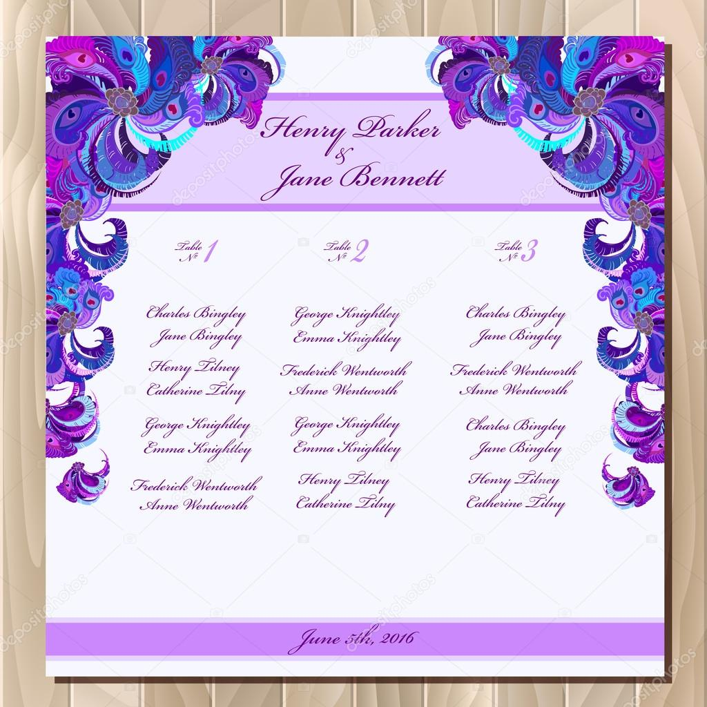 table guest list vector background peacock feathers wedding design