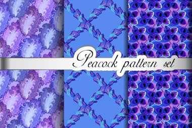 Feathers abstract seamless patterns set, vector illustration