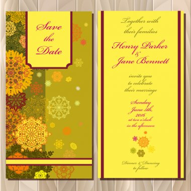Winter snowflakes design wedding invitation card. Wedding Vector illustration