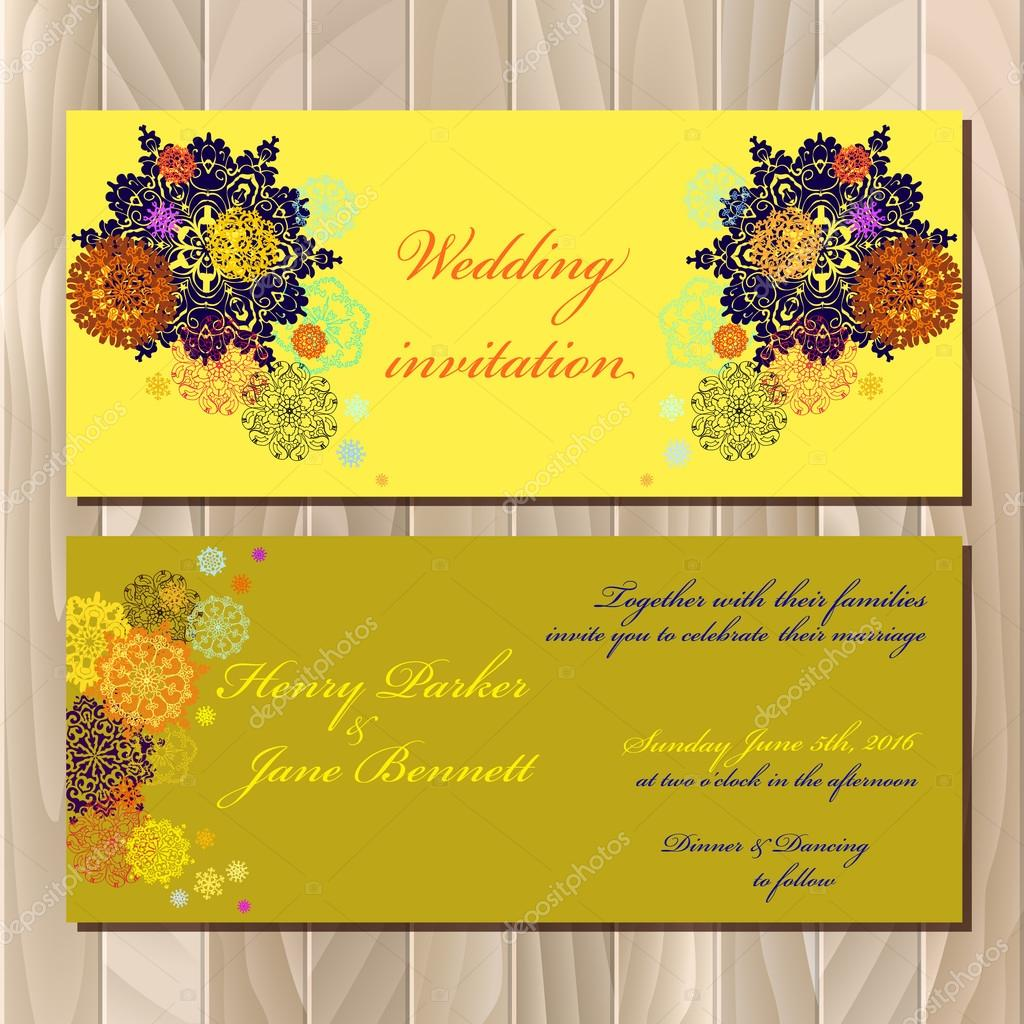 Winter snowflakes design wedding invitation card wedding vector snowflakes wedding invitation card pistachio khaki gold orange and yellow snowflakes and stars and green and pea background stopboris Gallery