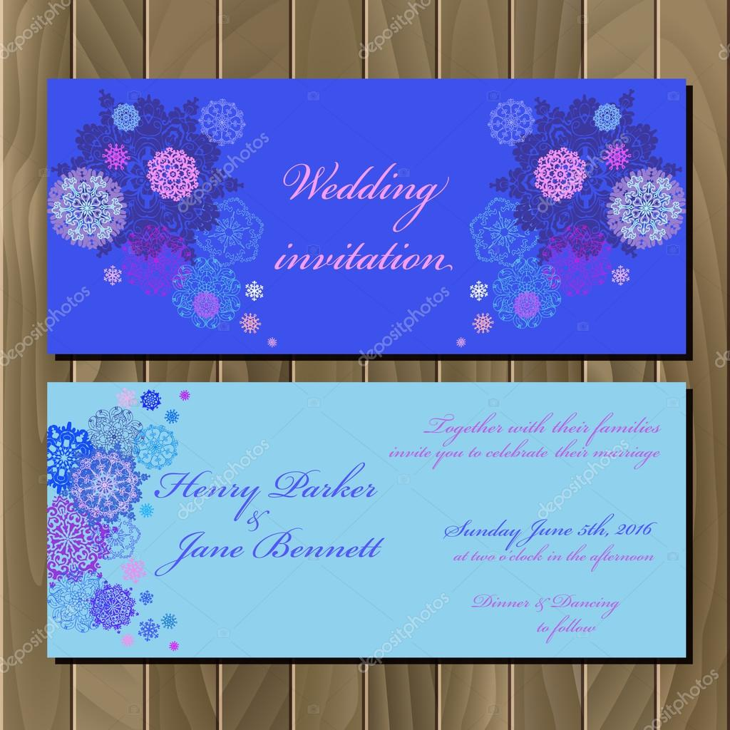 Winter snowflakes design wedding invitation card wedding vector winter snowflakes design wedding invitation card wedding vector illustration vetores de stock stopboris Images
