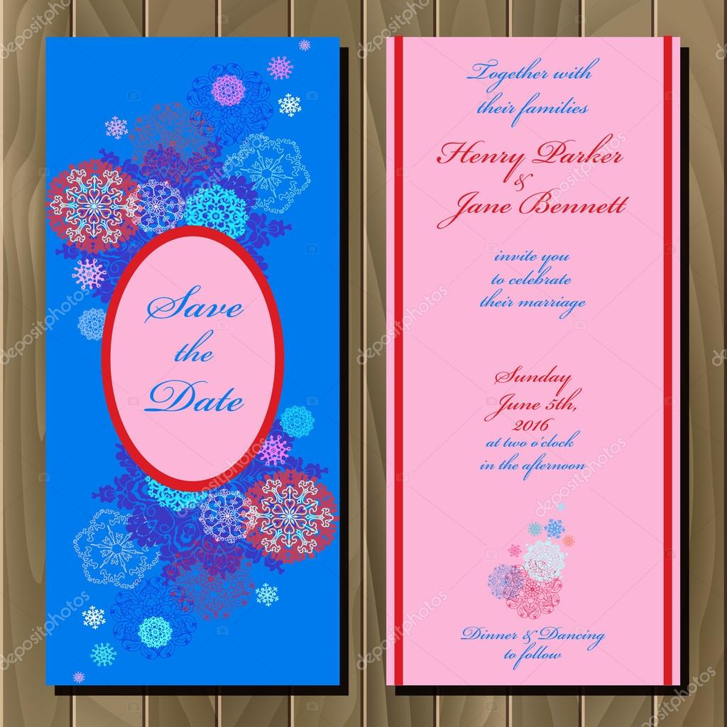 Winter snowflakes design wedding invitation card wedding vector winter snowflakes design wedding invitation card wedding vector illustration vetores de stock stopboris Choice Image