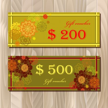 Voucher, Gift certificate, Coupon template for invitation, banner, ticket.