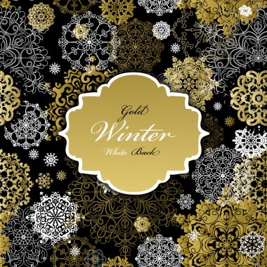 Seamless pattern with golden white snowflakes text  label.