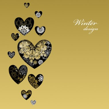 Winter love heart design with golden snowflakes. Love card.