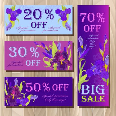 Big sale printable card template with purple iris flower design.