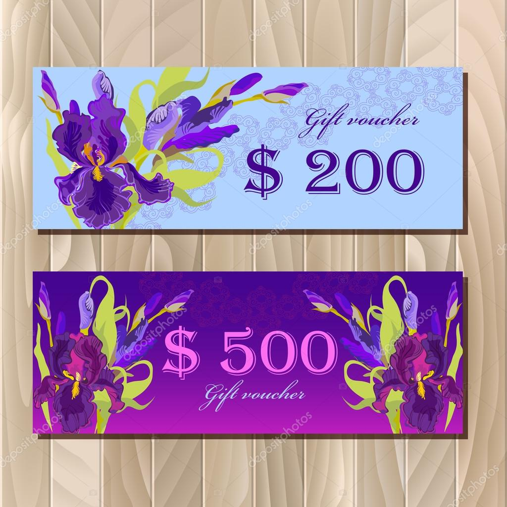 Gift Certificate Printable Card Template With Purple Iris Flower