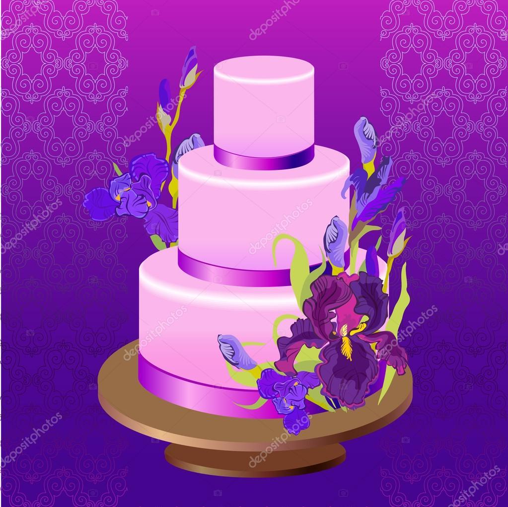 Hochzeitstorte Mit Lila Iris Blumen Design Vektor Illustration
