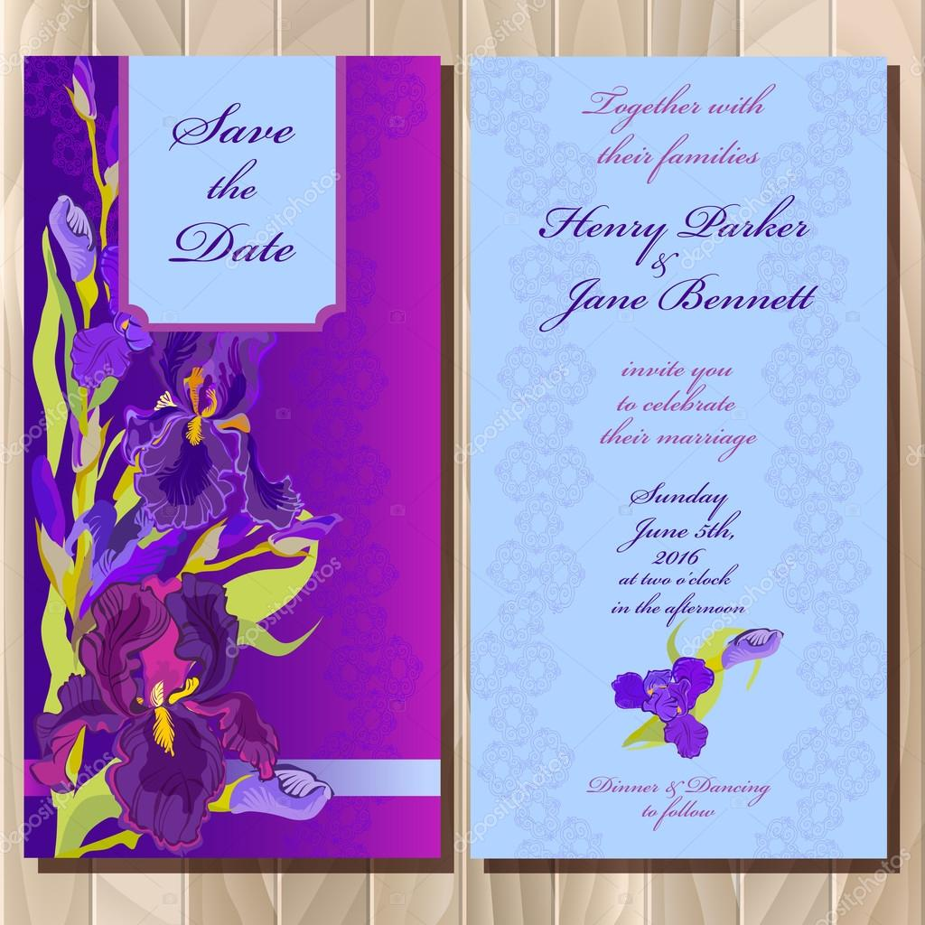 Wedding invitation card with purple iris flower background vector wedding invitation card with purple iris flower background vector illustration vetor de stock stopboris Gallery