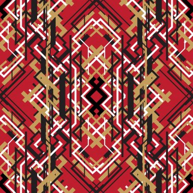 Trendy linear style red design seamless pattern background