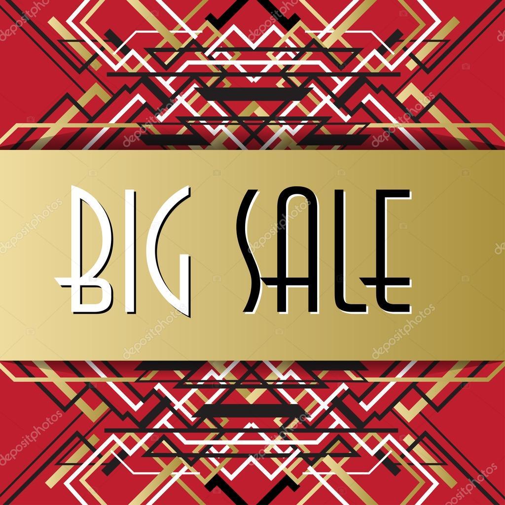 Goldene rote Vorlage Verkauf Banner in Umrissen Art Deco Stil ...