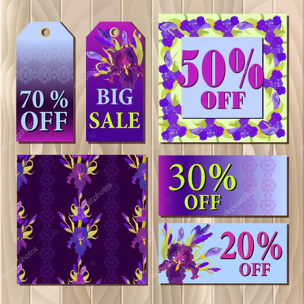 Big sale printable card template with purple iris flower design big sale printable card template with purple iris flower design stock vector izmirmasajfo