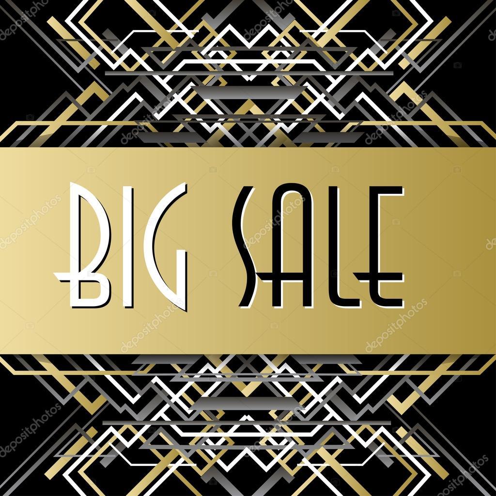 Goldene Silber Verkauf-Banner-Vorlage in Umrissen Art Deco Stil ...