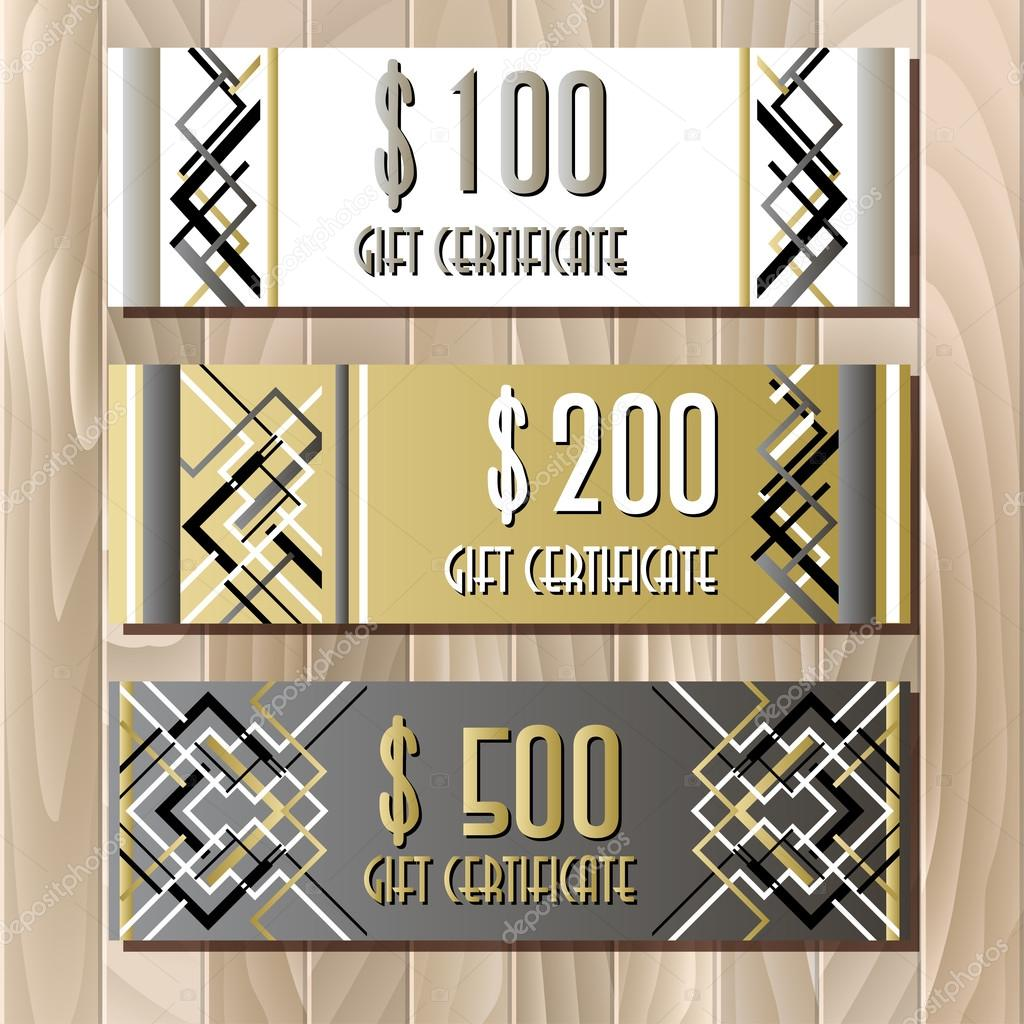 Golden silver gift certificate template in art deco outline style gift certificate card template in art deco outline style holiday background mock for banner or ticket golden silver white and black luxury background alramifo Image collections