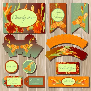 Printable wedding backgrounds set with iris flowers. Candy bar design