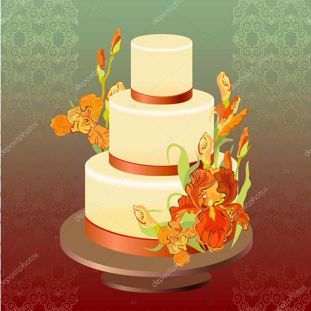 Wedding cake with red iris flower design. Vector illustration ...