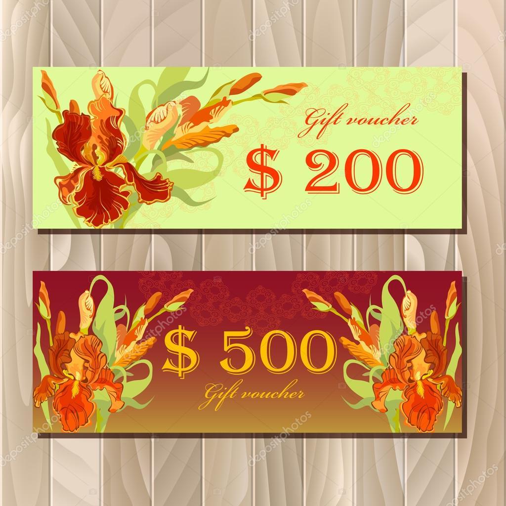 Gutschein druckbare Karte Vorlage mit roten Iris Blumen-Design ...