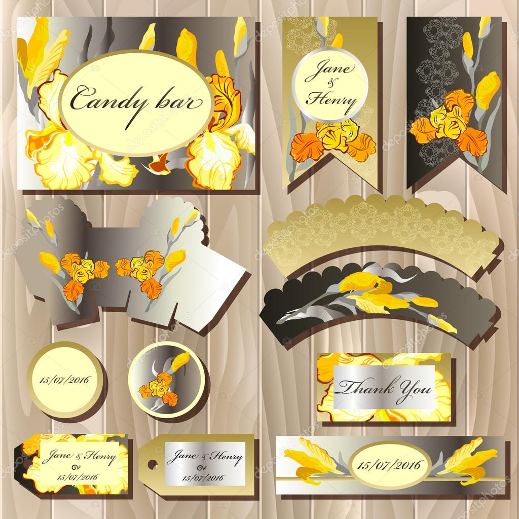 Candy bar wedding design set with iris flowers.