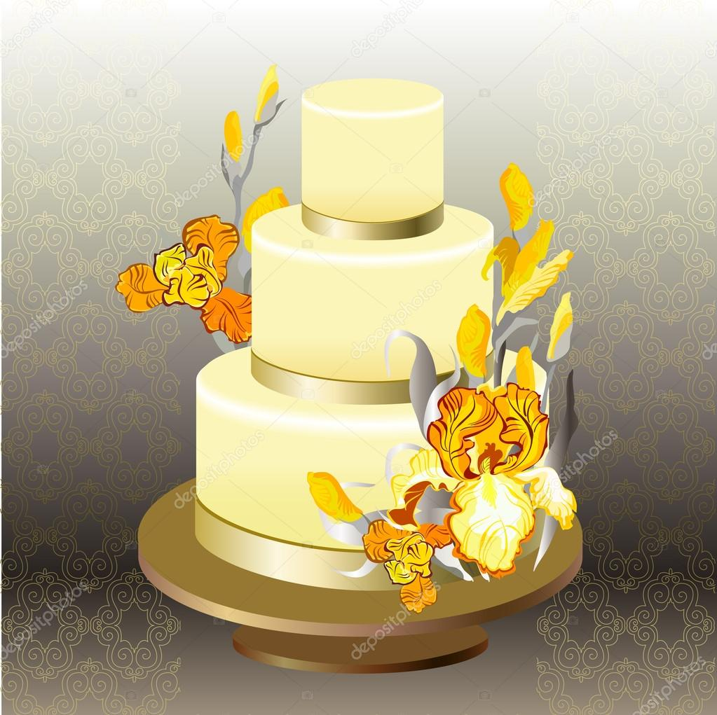 Wedding cake with yellow iris flower design. — Stock Vector ...