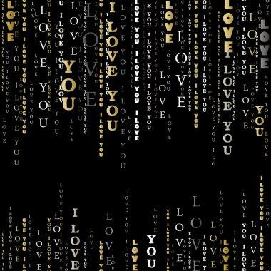 I love you words black background.