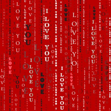 Seamless pattern. I love you words red background.