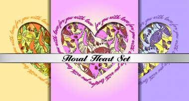 Set of decorative hearts with floral ornament.