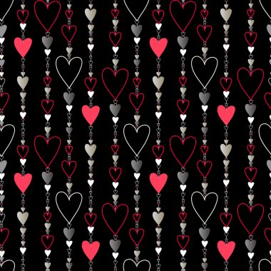 Seamless pattern. Hearts striped background.
