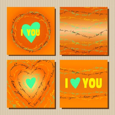 Set of cards with orange valentines day design.