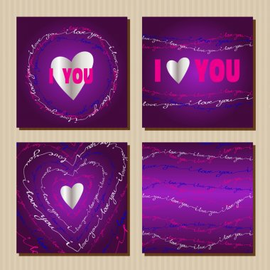 Set of cards with purple valentines day design.