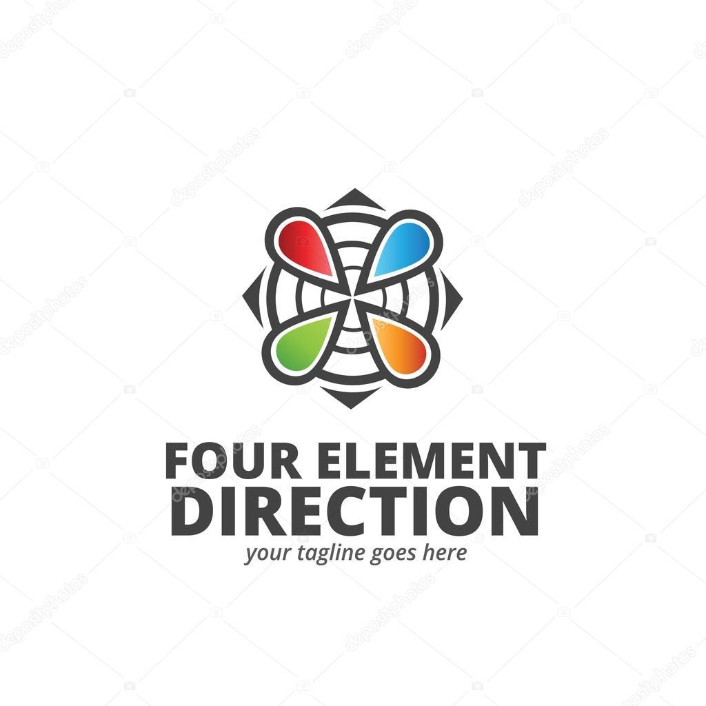 Elemento cuatro dirección Logo plantilla — Vector de stock ...