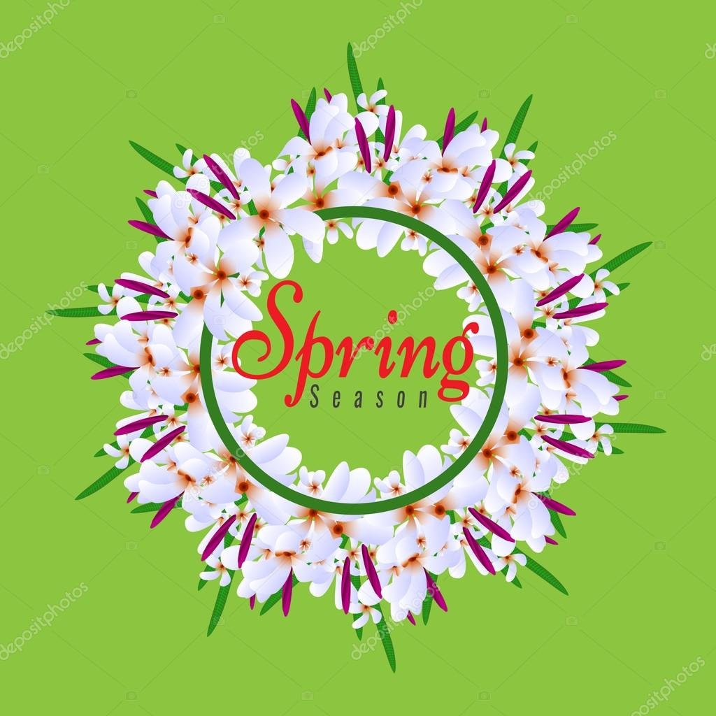 Floral Spring Graphic Design round circle border with Colorful flowers