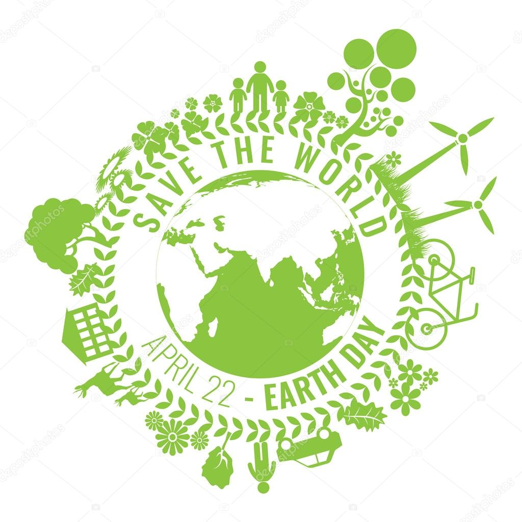 Eco Friendly, green energy concept, vector illustration. Earth day