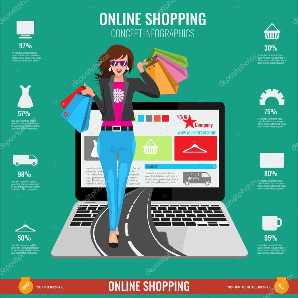 39f4be9dd Online shopping concept infographics in vector. Illustrated Woman with paper  shopping bags walking from laptop on road.