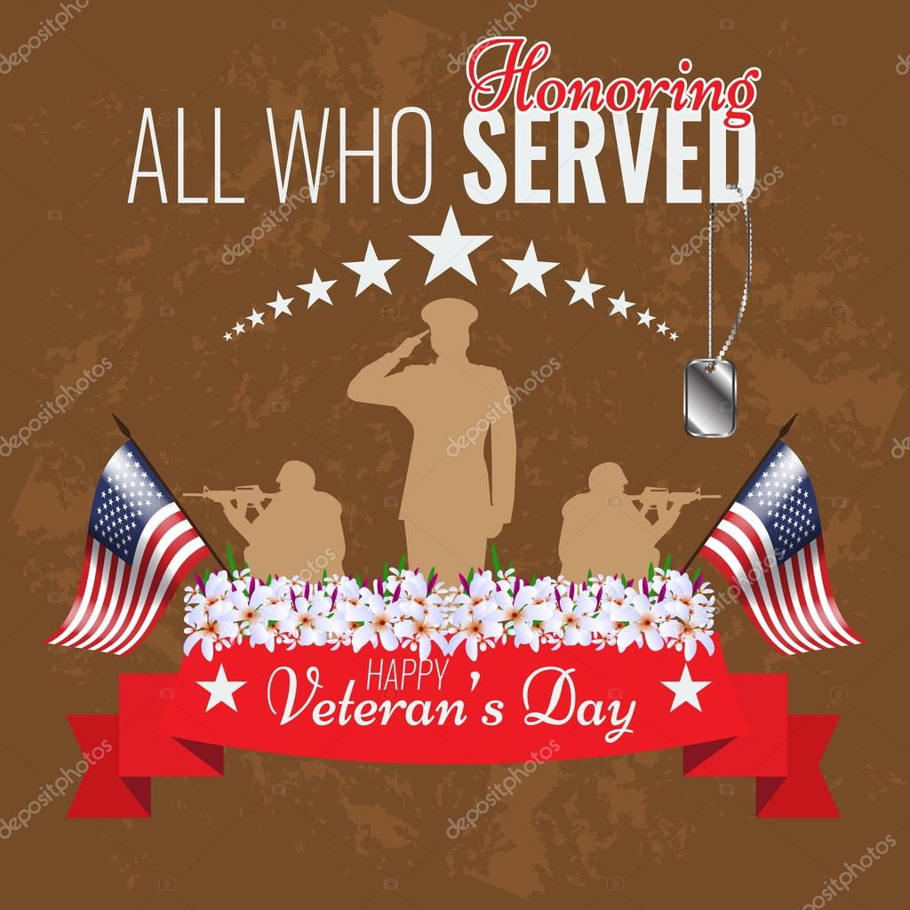 Veterans day background. Vector Veteran greeting card. — Stock ...