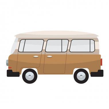 Camper van. Summer vacation. Vector flat color design