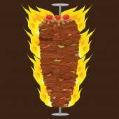 Photo Vector illustration of Doner Kebab on pole, grilling with fat.