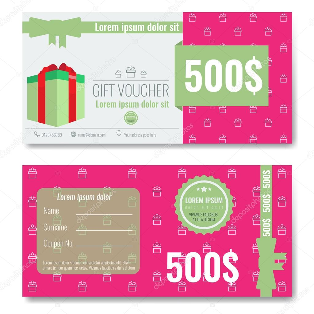 gift voucher template design with trendy modern outline pattern