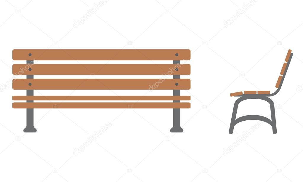 Outdoor Bench Icon With Front And Side View Stock Vector