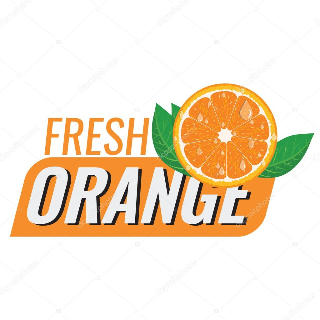 logo for fresh orange juice with leaf and water drops stock vector rh depositphotos com