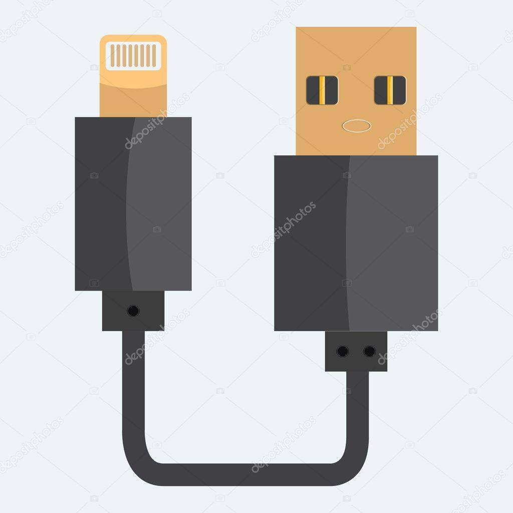 USB-Kabel-Symbol. Flach und einfarbig Stildesign — Stockvektor ...