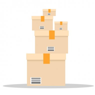 A pile of boxes. Stack of Cardboard with different size for your design. Flat and solid color vector illustration. icon