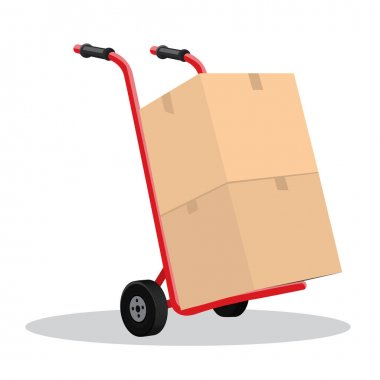 Hand truck and cardboard boxes with purchases or post package. Delivery concept design. Flat and solid color vector illustration. icon