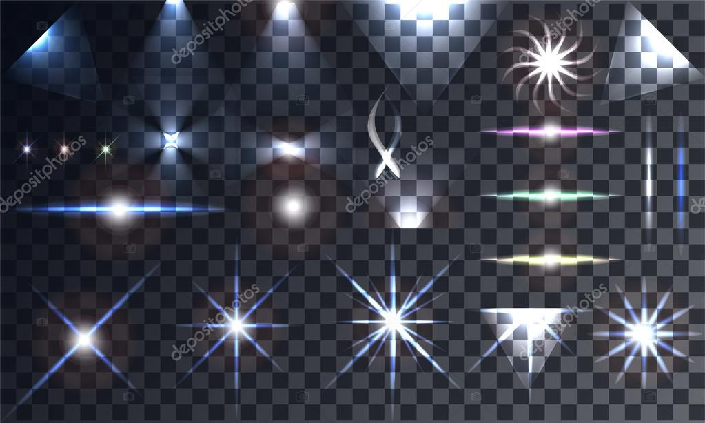 Creative concept Vector set of glow light effect stars
