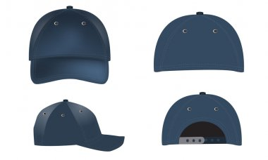 Vector realistic Baseball Caps - front, back and side views