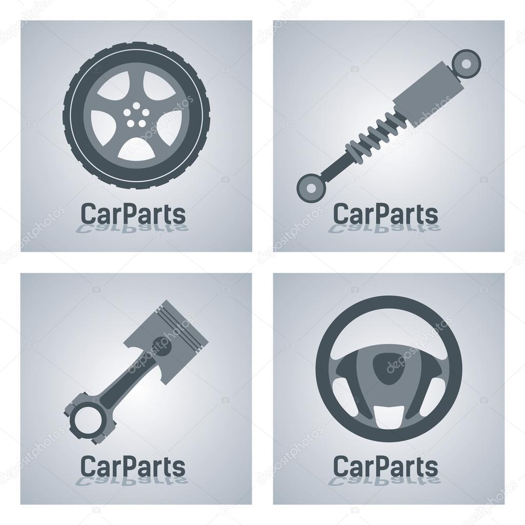 Anzeichen für Kfz Autoteile — Stockvektor © adirael #89871286