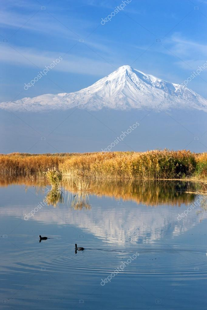 Mount Ararat reflection in the lake