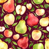 Bezešvé vzor s akvarel jablek a hrušek