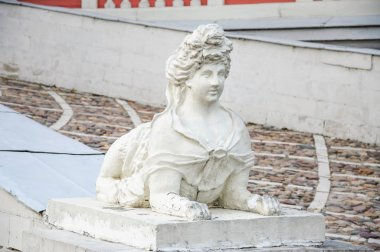 The sculpture of Sphinx on the ramp of the Great Palace in the residence of Sheremetevs Kuskovo