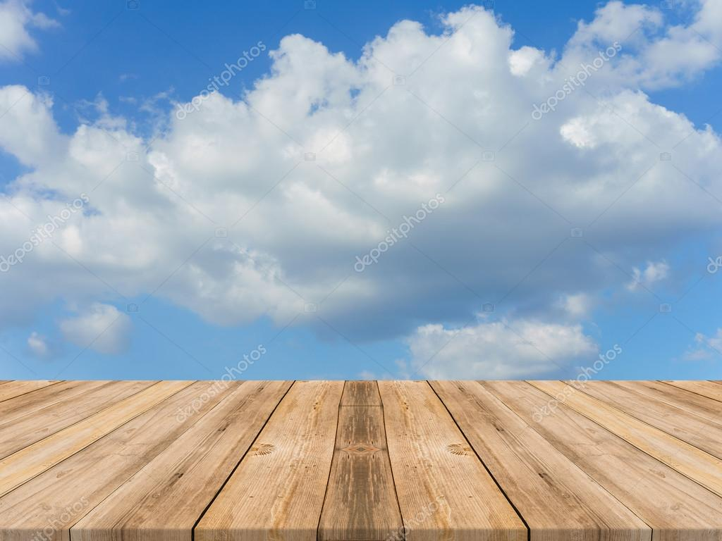 Vintage Wooden Board Empty Table In Front Of Sky