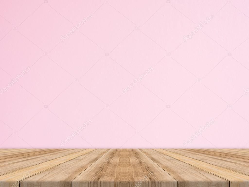 Free Floor Plan Download Empty Tropical Wood Table Top With Pink Concrete Wall Mock